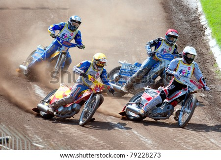 BRAILA, ROMANIA - JUNE 11: Unidentified riders participate at European Championship of Dirt Track on June 11, 2011 on Braila, Romania