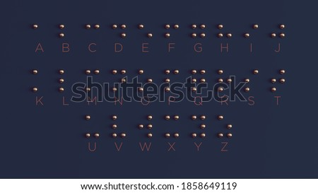 Braille Visually Impaired Writing System Symbol Formed out of Bronze Spheres 3d illustration Foto stock ©