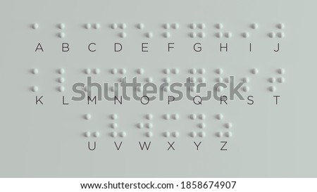 Braille Visually Impaired Writing System Symbol Formed out of White Spheres 3d illustration Foto stock ©