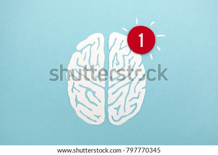 Brain alert - white paper cut brain silhouette with red notification alert, useful image to illustrate ideas, alertness, thinking #797770345