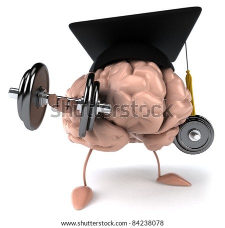 Brain and student - stock photo