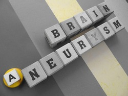 Brain Aneurysm, word cube with background.