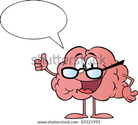 Brain Cartoon Character Giving The Thumbs Up And Speak.Vector version is also available