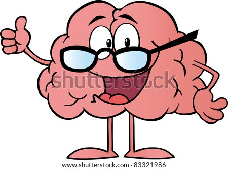 Brain Cartoon Character Giving The Thumbs Up.Vector version is also available