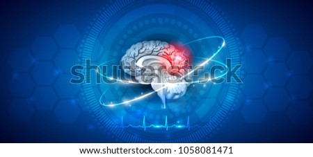 Brain damage and treatment on an abstract blue background with cardiogram and transparent cells.