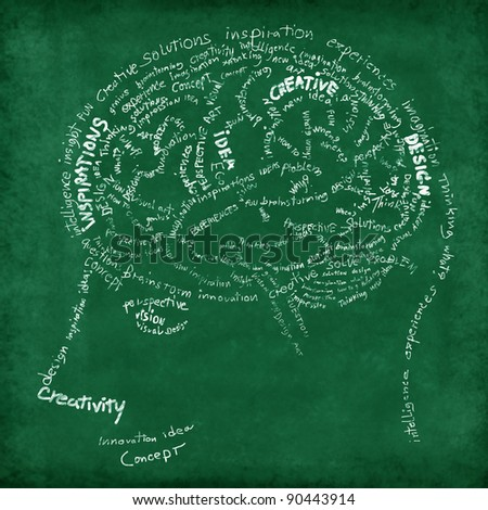 Brain drawing on chalkboard ,idea and creative concept - stock photo