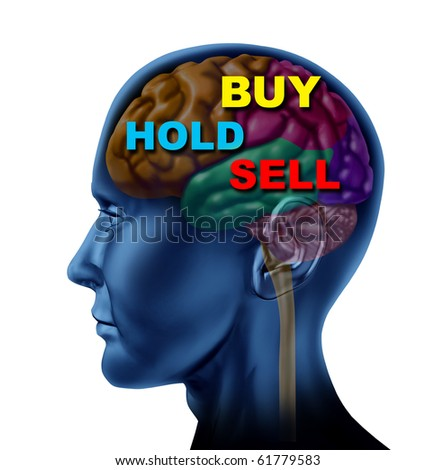 brain financial decision to buy sell hold stock market investment choice guidance advisor isolated - stock photo