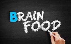 Brain Food text on blackboard, health concept background