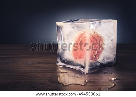 brain freeze concept with dramatic lighting #494553061