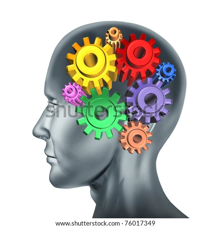 Brain function and intelligence symbol represented by turning gears and cogs.