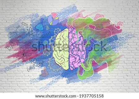 Brain function concept with handwriting sketch of right and left brain hemispheres, science symbols and creativity illustration. 3D rendering