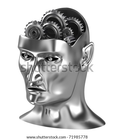 Brain gears thinking process isometric view isolated on white