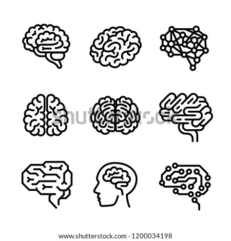 Brain icon set. Outline set of brain icons for web design isolated on white background