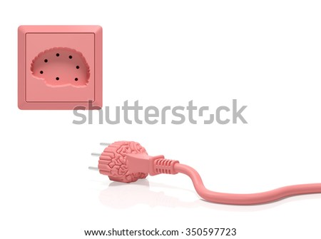 Brain idea inspiration creative concept. Electric plug and power socket as brain organ as symbol of brainstorming, creation, learning process, cognition, perception, success innovation, use your brain