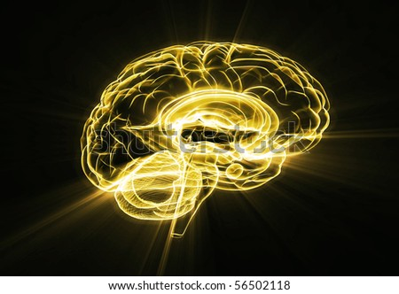 Brain illustration gold