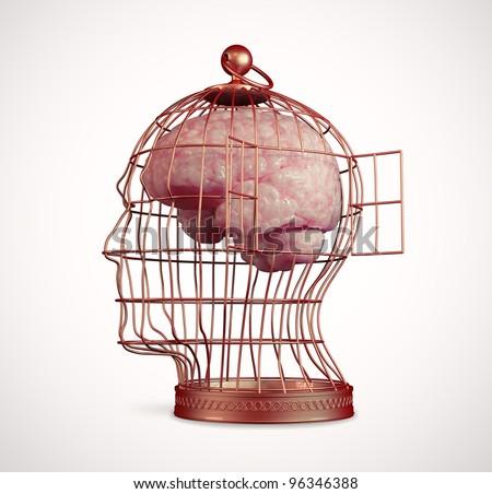 Brain inside a head shaped bird cage