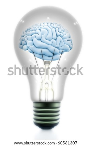 Brain inside a light bulb made in 3d - isolated over a white background