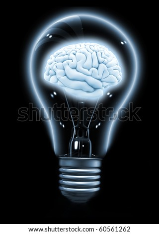 Brain inside a light bulb made in 3d over a black background - stock photo