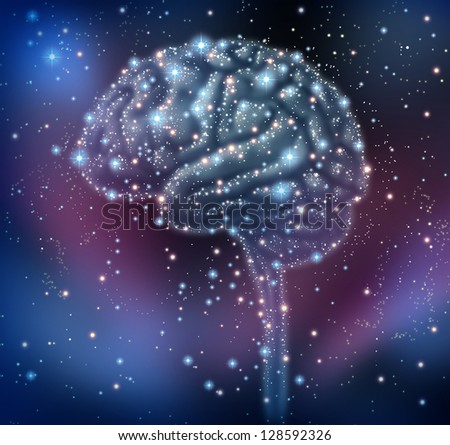 Brain intelligence discovery with a human brain shape made of stars and planets in a space background as a neurological health concept for research and solutions.
