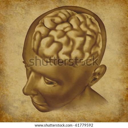 Brain intelligence mind ancient grunge old medical parchment document