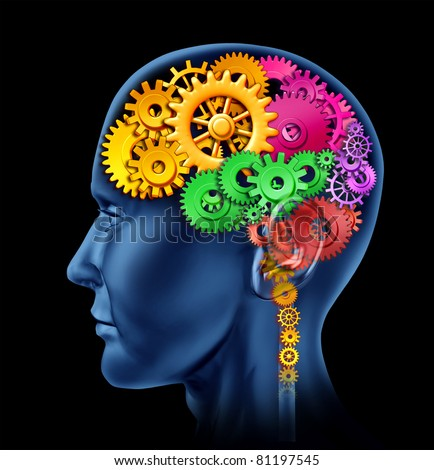 Brain lobe sections made of cogs and gears representing intelligence and divisions of mental neurological  activity.