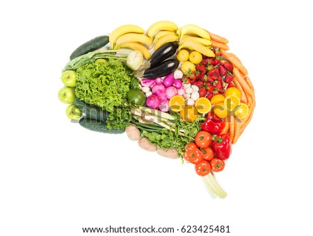 brain made out of fruits and...