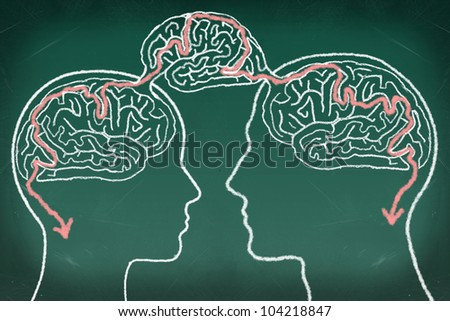 Brain Maze Puzzle in The Human Heads, drawing on the chalkboard, Thinking Communication Concept