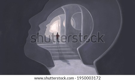 Brain mind way soul and hope concept art, 3d illustration, surreal mystery artwork, imagination painting, conceptual idea of success
