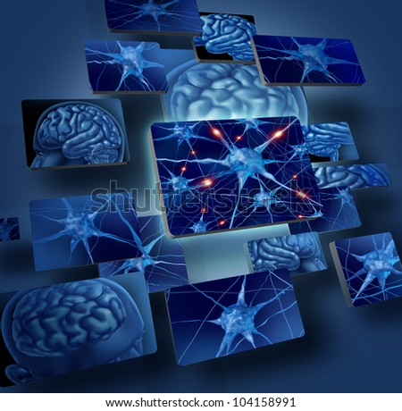 Brain neurons concepts as human brain medical symbol represented by geometric windows close up of neurons and organ cell activity showing intelligence related to memory.
