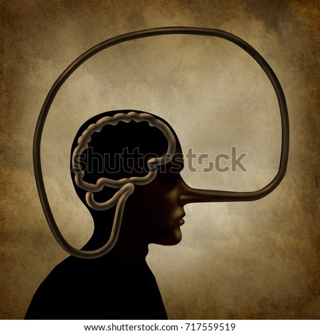 Brain of a liar and academic dishonesty or false perception psychological concept as a person with a long lies symbol nose in a 3D illustration style.