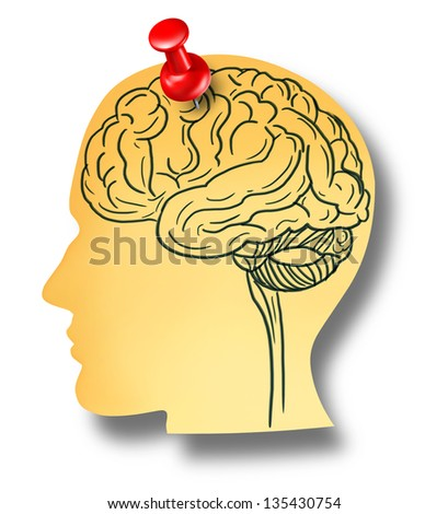 Brain reminder and memory loss concept from Dementia and Alzheimer's disease with the medical icon of an office note with a drawing as a shape of a human head pinned to a wall with a red thumb tack.