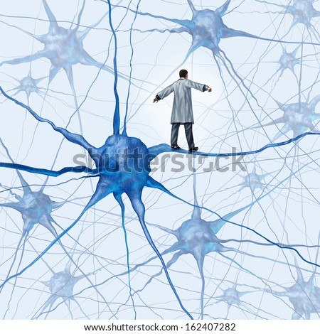 Brain research challenges as a medical concept with a doctor walking on a human neuron connection as a high wire tight rope metaphor through a group of neurons as an icon for dementia.