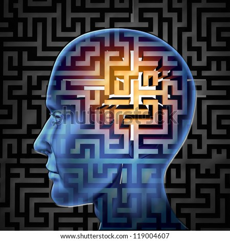 Brain search and human intelligence for research in finding solutions by creative paths and overcoming challenges and obstacles to mental health issues with a glowing maze or labyrinth on a head.