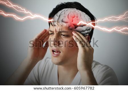 brain stroke concept, headache, cerebral hemorrhage, 3D rendering #605967782