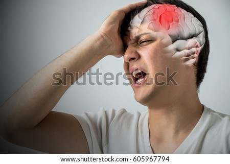brain stroke concept, headache, cerebral hemorrhage, 3D rendering #605967794