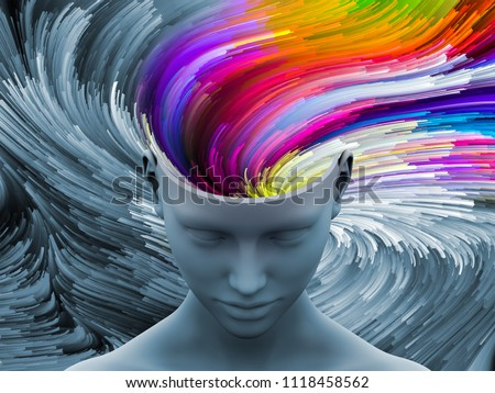 Brain Swirl. 3D illustration of human head with color motion trails for subjects on art, psychology, creativity, imagination and dreams.