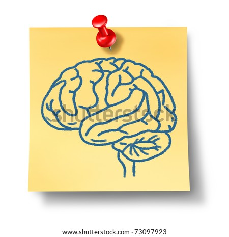Brain symbol on yellow office note reprsenting intelligence and thought.