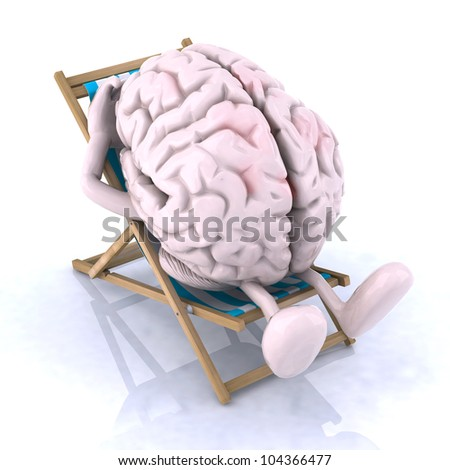 brain that rests on a beach chair, the concept of relaxing the mind