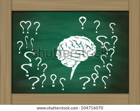brain thinking conceptual on green chalkboard