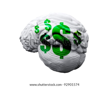 brain with dollar marks on the white