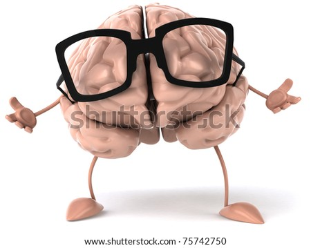 Brain with glasses - stock photo