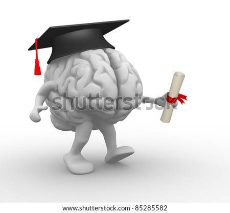 Brain with graduation cap and diploma.  3d render illustration
