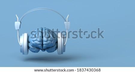 Brain with headphones. Creativity. Music. 3d illustration. Foto stock ©