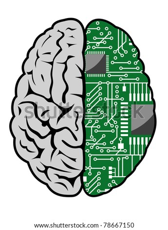 Brain with motherboard as a computer concept. Vector version also available in gallery