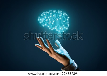 Brain with printed circuit board (PCB) design and businessman representing artificial intelligence (AI), data mining, machine and deep learning and another modern computer technologies concepts. #776832391