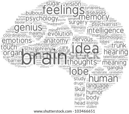 brain word cloud with grey words on a white background / brain tag cloud pictogram
