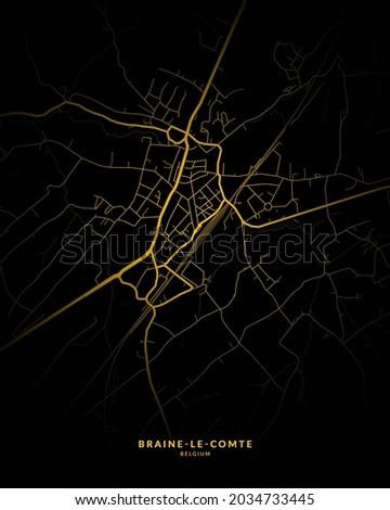 Braine-le-Comte, Belgium City Map Style Gold - Braine-le-Comte City Map Poster Wall Art Home Decor - Braine-le-Comte City Gold Map  Photo stock ©
