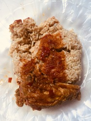 braini rice with chicken and spicy  sauce