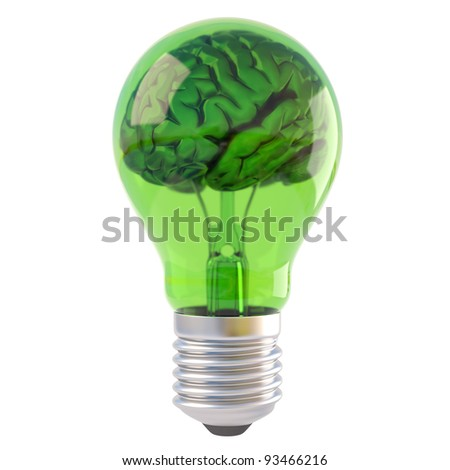 brains inside a green bulb. isolated on white.