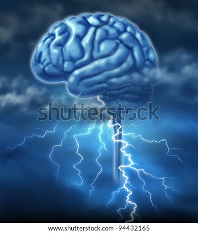 Brainstorm and brainstorming inspiration concept with a brain and a lightning storm as a symbol of creativity and the creative power of human ideas and creation of innovative inventions.